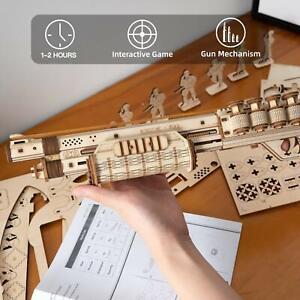 Model 3D Toy Puzzle Boy ROKR Gift Kids Teens Gun Wooden Shotgun for Building DIY