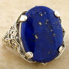 GENUINE LAPIS LAZULI 925 STERLING SILVER ANTIQUE STYLE FILIGREE RING SIZE 5,#950