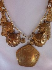 VTG 1970's  Pididdly Links Cat 24 inch necklace-15 charms-pendants-Kingston NY