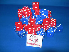NEW 18 ASSORTED OPAQUE DICE 16mm BLUE AND RED, 2 COLORS 9 OF EACH COLOR