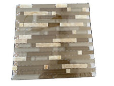 Linear Beige Glossy Glass Mosaic& Stone Tile Backsplash Kitchen Wall