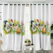 Chicken Floral Rooster Animal Flower Window Living Room Bedroom Curtains Drape