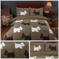 Rapport Hamish Tartan Checked Reversible Terrier Scottie Dog Duvet Cover Bed Set