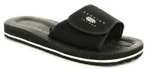 New Mens/Gents Black Slip Ons Shower Mules Touch Fastening Flip Flops. UK Size