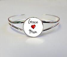 Personnalisé enfants nom aime maman sur un plaqué argent bracelet bangle cadeau