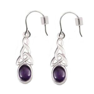 Silver / Amethyst Celtic Knot Earrings