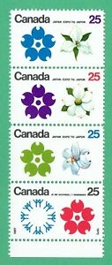 Canada 1970 flowers strip of 4 @ face value