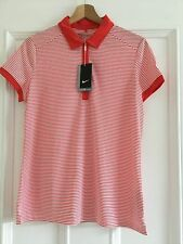 Ladies NIKE GOLF Polo Top  Dri Fit Size Large Red/white