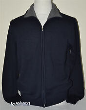 MAGLIA UOMO lana Giacca aperta con zip taglia XL blu MADE IN ITALY lana rasata