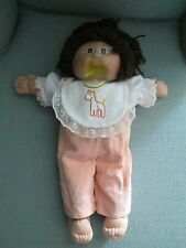 Coleco Vintage Cabbage Patch Kids Doll Dark Face White Body Brown Hair Pacifier