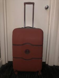 DELSEY Orange & Brown CHATELET AIR Suitcase Spinner 4-Wheels TSA Combi Lock