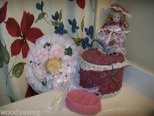 Hand Crafted lot of 4 Pink Shab Storage box Doll Wall Hat Pfaltzgraff soap dish