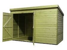 10x8 Garden Shed Shiplap Pent Roof Tanalised Double Door Left Tongue and Groove