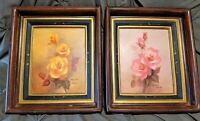 "Vintage Signed Marjorie Sharpe Framed Rose Paintings Set, Framed Art 16"" x 14"""