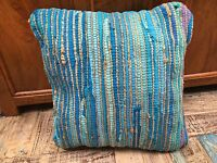 ❤️Striped Recycled Cotton Jute Cushion Cover TURQUOISE 45 x 45cm Plain Back Zip