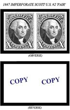 1847 10¢ IMPERFORATE U.S. SCOTT #2 PAIR -REPRODUCTION-