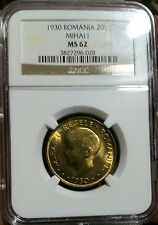Romania 1930 20 Lei *NGC MS-62* Mihai I Young Head London Mint Low Minimum