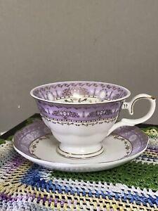 "Grace's Teaware 4"" Cup & Saucer SET Purple & Gold Scrolls Pristine 6"" Saucer"