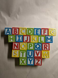 30 Wooden Childs Blocks Letters Numbers Dominoes Animals Objects Incomplete Set