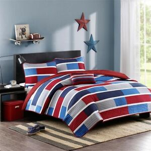 Luxury Navy Blue & Red Colorblock Coverlet Quilt Set AND Decorative Pillow
