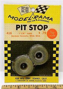 "1965 K&B Aurora 1:24 1:25 Slot Car Pit Stop Parts 1 1/8"" GERMAN SLICK TIRES #416"