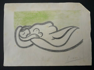 Pablo Picasso Original Vintage Pencil Drawings Hand Signed Not A Print!