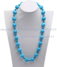 "Handmade 12mm 6mm Blue Turquoise Round Gemstone Beads Necklace 18-30"" AAA"