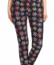 Multi Colored Snowflake Leggings Navy Blue Base Buttery Soft ONE SIZE OS 2-10