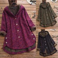 UK Womens Floral Hooded Fleece Cotton Coat Hoodies Winter Warm Jacket Outwear