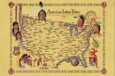 American Indian Tribes At Time Of Columbus Arrival Map Decor Art Print Free Ship