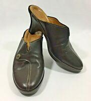 Cole Haan Women Brown Leather Slip On Mule Heel Shoe Size 5.5 B