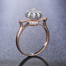 Gorgeous Rose Gold Filled White Sapphire Crown Ring Women Cocktail Rings Sz10