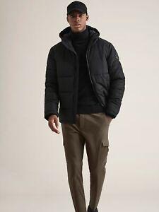 BURTON MENSWEAR LONDON Mens Black Puffer Jacket Recycled Polyester Outwear Top