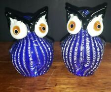 PAIR DALE TIFFANY ART GLASS COBALT BLUE & WHITE PINSTRIPED OWL FIGURINES
