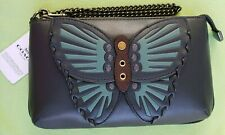 COACH LARGE WRISTLET W/ BUTTERFLY APPLIQUE:NWT BUTTERFLY (MIDNIGHT LEATHER) 2954