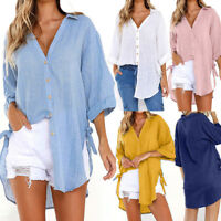 Womens Loose Button Long Sleeve Shirt Cotton Ladies Casual Tops T-Shirt Blouse