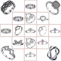 Shining Crystals Rings Wedding Engagement Gift For Woman 925 Silver Fine Jewelry