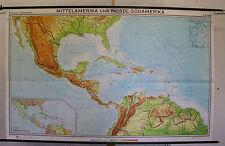 Schulwandkarte tarjeta tarjeta de ruedas América central caribe caribic cuba 244x153cm 1972