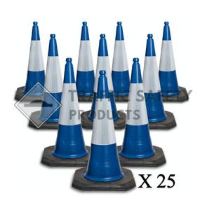 Pack of 25 - ELITE Traffic Cones 1000 mm 2 piece BLUE