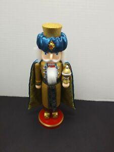 Blue & Gold King Nutcracker Wooden Christmas Decor.