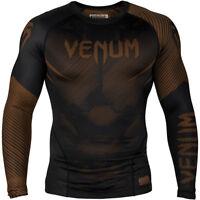 Venum No-Gi 2.0 Long Sleeve MMA Compression Rashguard - Black/Brown