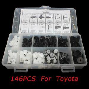 146 pcs Panel Plastic Rivet Fastener Retainer Bumper Fender Push Clip for Toyota