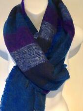 Yak Wool Scarf  Shawl Warm Thick winter Scarf. Blue  Tones 180cm X 45cm