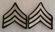 ORIGINAL WWII ISSUE PAIR WOVEN US ARMY SGT CHEVRONS SILVER ON BLACK TWILL