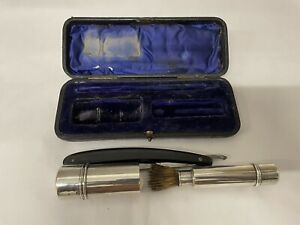 Rare 1900 Silver 3 Piece Shaving Set Stick & Brush Cased