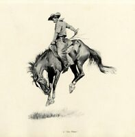 FREDERIC REMINGTON A SUN FISHER COWBOY BREAKING A BUCKING BRONCO AMERICAN WEST