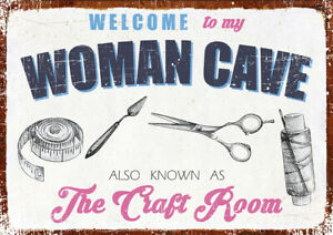 """NOVELTY WOMAN CAVE """"CRAFT ROOM"""" RETRO METAL SIGN FUNNY SIGN XMAS BIRTHDAY GIFT"""