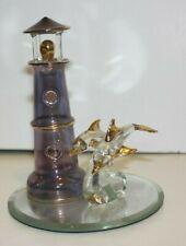 "5"" Glass Figurine Light House, 2 Dolphins, Mirror Base Hand Sculpture 22 K gold"