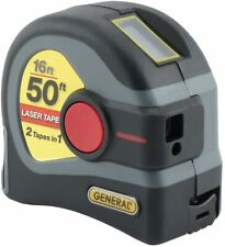 General Tools 2-in-1 Laser Tape Measure, LCD Digital Display, 50' Laser 16' Long