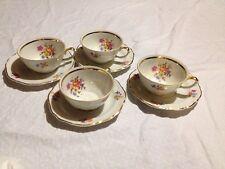 Walbrzych Poland Vintage Fine China Tea Cups/saucers Gold Trim, Serves 4